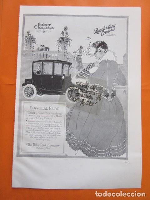 CARTEL - BAKER ELECTRIC RAUCH & LANG ELECTRICS --- TRASERA - WHITE CUSTOM BUILT - 28 X 41 CM. (Coches y Motocicletas Antiguas y Clásicas - Catálogos, Publicidad y Libros de mecánica)