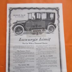 Coches y Motocicletas: CARTEL - LUXURYS LIMIT HUDSON MOTOR CAR --- TRASERA - PACKARD BOSS OF THE ROAD - 28 X 41 CM.. Lote 103514979