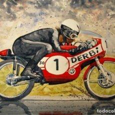 Coches y Motocicletas: ANGEL NIETO-DERBI-12+1-ACUARELA ORIGINAL GRAN FORMATO 50 X 65.. Lote 103588835