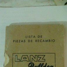Coches y Motocicletas: ANTIGUO CATALOGO LISTA DE PIEZAS DE RECAMBIO LANZ BULLDOG TIPO D 3806 38 CV LANZ IBERICA SA. Lote 103765539