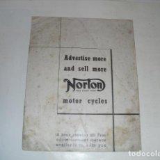 Coches y Motocicletas: CATÁLOGO MOTOCICLETAS NORTON - ORIGINAL AÑO 1939 -. Lote 103783471