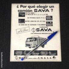 Coches y Motocicletas: CAMIONES SAVA ENASA PEGASO VEHICULOS LIGEROS - RECORTE PRENSA REVISTA ANUNCIO PUBLICIDAD. Lote 105013563