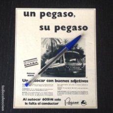 Coches y Motocicletas: PEGASO AUTOCAR 6031 N ENASA AUTOBUS BUS - RECORTE PRENSA REVISTA ANUNCIO PUBLICIDAD. Lote 105014851