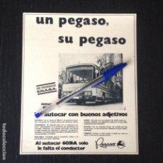 Coches y Motocicletas: PEGASO AUTOCAR 6031 A ENASA AUTOBUS BUS - RECORTE PRENSA REVISTA ANUNCIO PUBLICIDAD. Lote 105014907