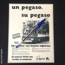 Coches y Motocicletas: PEGASO AUTOCAR 6046 ENASA AUTOBUS BUS - RECORTE PRENSA REVISTA ANUNCIO PUBLICIDAD. Lote 105015023