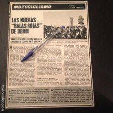 Coches y Motocicletas: DERBI BALAS ROJAS CARRERAS CLIENTE JARAMA - RECORTE PRENSA REVISTA CRONICA ANUNCIO PUBLICIDAD. Lote 105295043