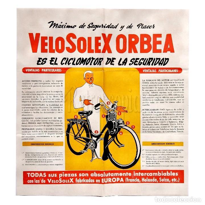 CATALOGO DESPLEGABLE PUBLICITARIO CICLOMOTOR VELOSOLEX ORBEA (Coches y Motocicletas Antiguas y Clásicas - Catálogos, Publicidad y Libros de mecánica)