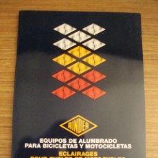 Coches y Motocicletas: (TC-101) CATALOGO RINDER FABRICANTE EQUIPOS DE ALUMBRADO BICICLETAS Y MOTOCICLETAS 1983. Lote 107340975