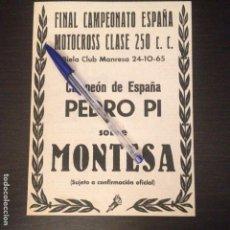 Coches y Motocicletas: CAMPEONATO ESPAÑA MOTOCROSS 250 PEDRO PI MONTESA 1965 - RECORTE PRENSA REVISTA ANUNCIO PUBLICIDAD. Lote 107456079