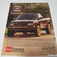 Coches y Motocicletas: GMC SONOMA: ANUNCIO PUBLICIDAD 1994. Lote 108268175