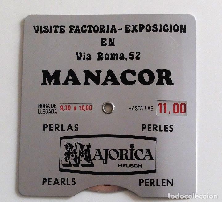 DISCO HORARIO DE METAL- PUBLICIDAD PERLAS MAJORICA MANACOR MALLORCA (Coches y Motocicletas Antiguas y Clásicas - Catálogos, Publicidad y Libros de mecánica)