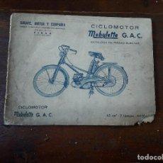 Coches y Motocicletas: CATALOGO DE PIEZAS . Lote 109342271