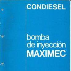 Coches y Motocicletas: MANUAL DE TALLER BOMBA DE INYECCION MAXIMEC CAV CONDIESEL. Lote 111025511
