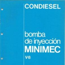 Coches y Motocicletas: MANUAL DE TALLER BOMBA INYECCION MINIMEC CAV CONDIESEL. Lote 111026439