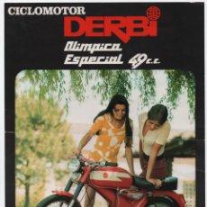 Coches y Motocicletas: (ALB-TC-13) FOLLETO CICLOMOTOR DERBI OLIMPICA ESPECIAL 49 CC. Lote 112482995