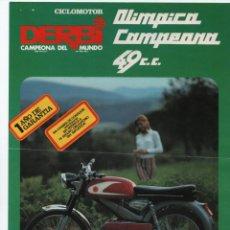 Coches y Motocicletas: (ALB-TC-13) FOLLETO CICLOMOTOR DERBI OLIMPICA CAMPEONA 49 CC. Lote 112483019