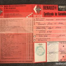 Coches y Motocicletas: RENAULT 8. CERTIFICADO DE GARANTÍA. (A.1966). Lote 113286814