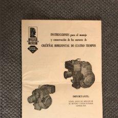 Coches y Motocicletas: TECUMSEH ENGINES. PUBLICIDAD INSTRUCCIONES CIGÜEÑAL HORIZONTAL(H.1970?. Lote 113289012