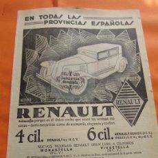 Coches y Motocicletas: PUBLICIDAD 1929 - COLECCION COCHES - RENAULT 4 CILINDROS. Lote 113328559