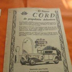 Coches y Motocicletas: PUBLICIDAD 1929 - COLECCION COCHES - EL NUEVO CORD DISTRIBUIDO S. LOINAZ SAN SEBASTIAN. Lote 113328687