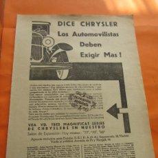 Coches y Motocicletas: PUBLICIDAD 1929 - COLECCION COCHES - CHRYSLER - TRASERA SAL DE FRUTA ENO. Lote 113329247