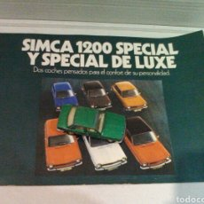 Coches y Motocicletas: CATALOGO SIMCA 1200 SPECIAL Y SPECIAL DE LUXE. Lote 113331731