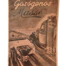 Coches y Motocicletas: CATÁLOGO PUBLICIDAD LIBRO DE INSTRUCCIONES GASÓGENOS MASSÉ. EN CASTELLANO AÑOS 30. Lote 114125819