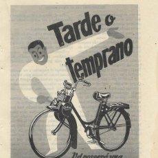 Coches y Motocicletas: PUBLICIDAD 1957 HOJA REVISTA ANUNCIO VELOSOLEX DE ORBEA. Lote 150087062