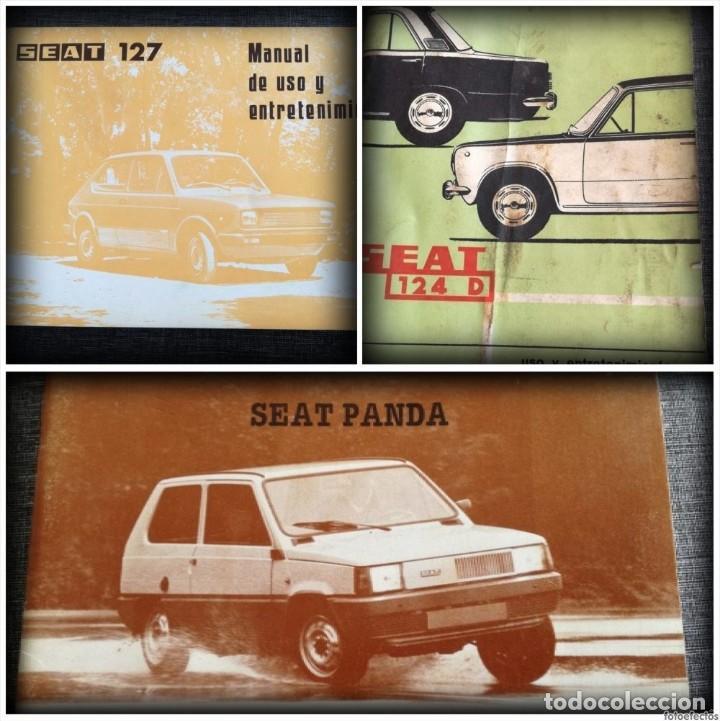 LOTE 3 MANUALES SEAT: 124 D, 127, PANDA - MANUAL DE USO Y ENTRETENIMIENTO (Coches y Motocicletas Antiguas y Clásicas - Catálogos, Publicidad y Libros de mecánica)