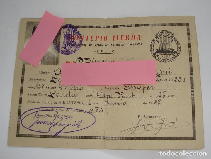 Coches y Motocicletas: (ALB-TC-19) CARNET DE IDENTIDAD MONTEPIO ILERDA LERIDA1948 - Foto 2 - 115286407