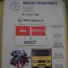 Coches y Motocicletas: GUIA TASACIONES SIATA 50 JEEP COMANDO EBRO F260 F275 F350 AVIA 1000 1250 2000 . Lote 116181187