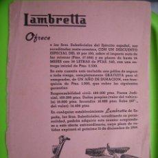 Coches y Motocicletas: CARTELITO PUBLICITARIO DE MOTO LAMBRETA. Lote 117804151
