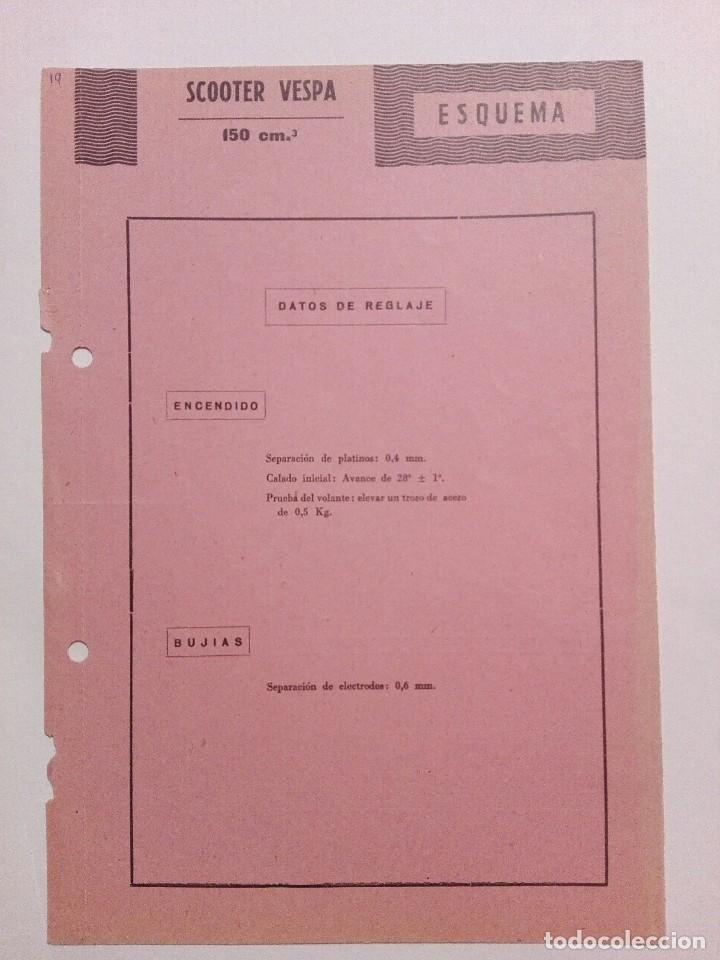 VESPA 150 CM.³ ESQUEMA CARACTERÍSTICAS TÉCNICAS (Coches y Motocicletas Antiguas y Clásicas - Catálogos, Publicidad y Libros de mecánica)