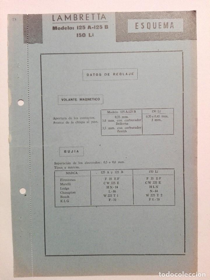 LAMBRETTA MODELOS 125 A-125 B -150 LI ESQUEMA CARACTERÍSTICAS TÉCNICAS (Coches y Motocicletas Antiguas y Clásicas - Catálogos, Publicidad y Libros de mecánica)