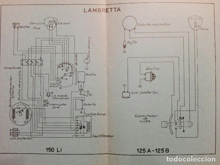 Coches y Motocicletas: LAMBRETTA MODELOS 125 A-125 B -150 Li ESQUEMA CARACTERÍSTICAS TÉCNICAS - Foto 3 - 117872151
