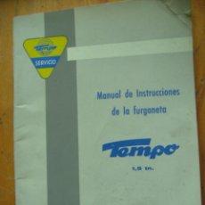 Coches y Motocicletas: MANUAL INSTRUCCIONES DE LA FURGONETA TEMPO 1,5 TN. Lote 118154043