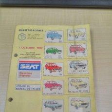 Coches y Motocicletas: GUÍA DE TASACIONES DE LOS SEAT EN 1982. Lote 119024827