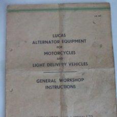 Coches y Motocicletas: ALTERNADOR LUCAS IA45 PARA MOTOCICLETAS LIBRO TALLER MOTO CLASICA. Lote 119277251
