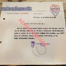 Coches y Motocicletas: SEVILLA, 1965, CARTA DE PAGO DE UNA DUCATI 250 DELUXE. Lote 119945687
