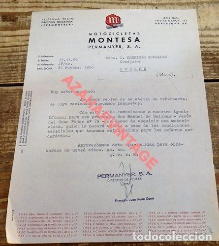 CARTA COMERCIAL DE MONTESA A UN CURA DE BORNOS, CADIZ, 1956 (Coches y Motocicletas Antiguas y Clásicas - Catálogos, Publicidad y Libros de mecánica)