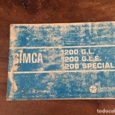 Coches y Motocicletas - MANUAL DE INSTRUCCIONES SIMCA 1200 - 120822655