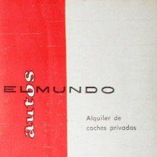 Coches y Motocicletas: FOLLETO PUBLICITARIO DE ALQUILER DE COCHES EL MUNDO DE 1965. SEAT 600 Y 1500, CADILLAC, DODGE DART.. Lote 121548323