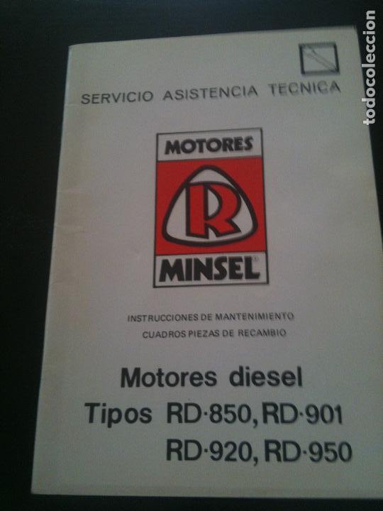 MOTORES MINSEL-INSTRUCCIONES DE MANTENIMIENTO CUADRO PIEZAS DE RECAMBIO (Coches y Motocicletas Antiguas y Clásicas - Catálogos, Publicidad y Libros de mecánica)