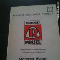 Voitures et Motocyclettes: MOTORES MINSEL-INSTRUCCIONES DE MANTENIMIENTO CUADRO PIEZAS DE RECAMBIO. Lote 122017799
