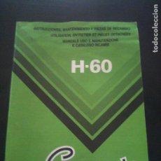 Coches y Motocicletas: CAMPEON H-60-INSTRUCCIONES DE MANTENIMIENTO CUADRO PIEZAS DE RECAMBIO. Lote 122018139