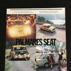 Coches y Motocicletas: PALAMARES SEAT RALLY RALLYE 124 1976 - ANUNCIO PUBLICIDAD REVISTA RECORTE. Lote 122168183