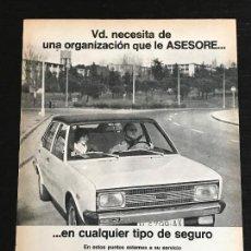 Coches y Motocicletas: ALSE SEGUROS - SEAT 131 - ANUNCIO PUBLICIDAD REVISTA RECORTE. Lote 122168303