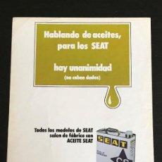 Coches y Motocicletas: ACEITE CS CALVO SOTELO SEAT LATA LUBRICANTE - ANUNCIO PUBLICIDAD REVISTA RECORTE - 600 850 124 1430 . Lote 122168483