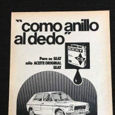 Coches y Motocicletas: ACEITE CS CALVO SOTELO SEAT 127 LATA LUBRICANTE - ANUNCIO PUBLICIDAD REVISTA RECORTE. Lote 122168527