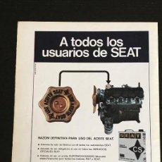 Coches y Motocicletas: ACEITE CS CALVO SOTELO SEAT LATA LUBRICANTE - ANUNCIO PUBLICIDAD REVISTA RECORTE - 1430 600 850 124. Lote 122168607